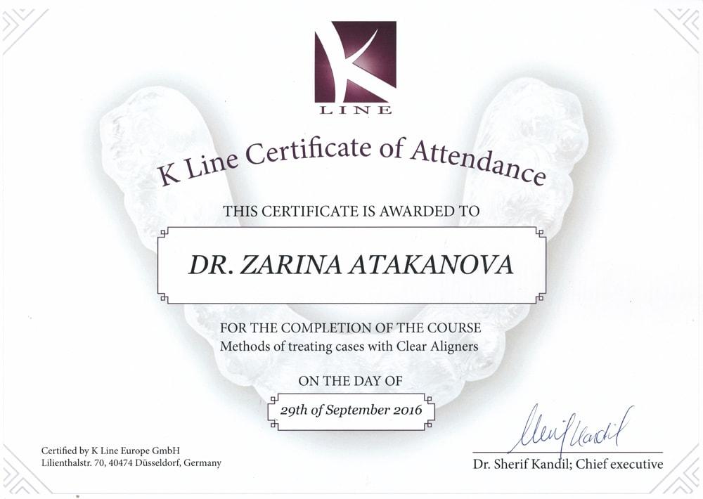 Сертификат Атакановой Зарины об участии в курсе