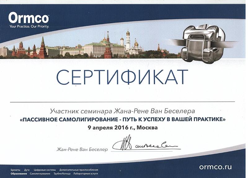 Сертификат участника семинара Жана-Рене Ван Беселера