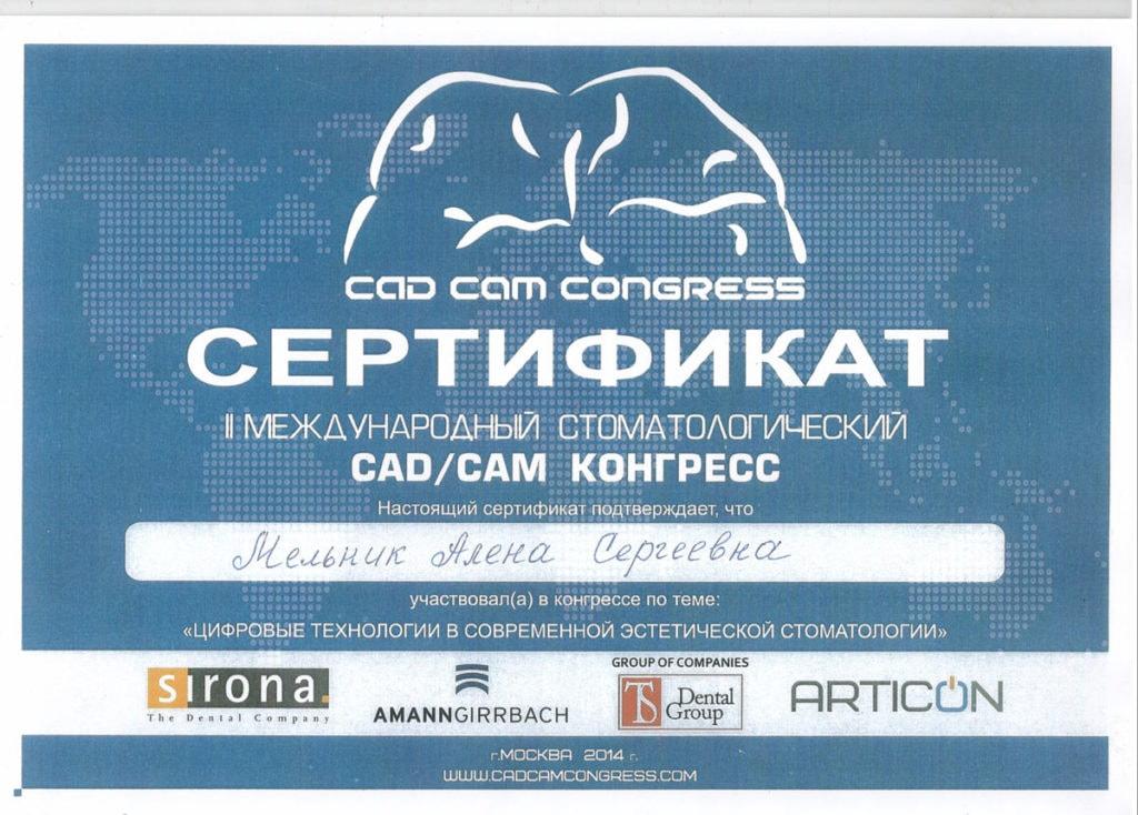 Сертификат об участии Мельник А С в международном конгрессе CAD/CAM