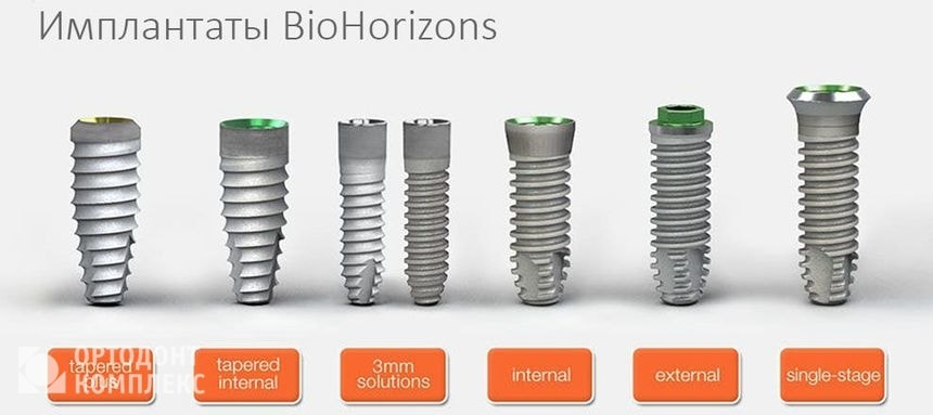 Виды имплантов BioHorizons