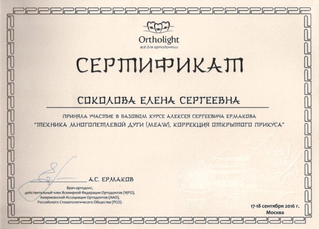 Сертификат Соколовой Е С об участии в базовом курсе А С Ермакова
