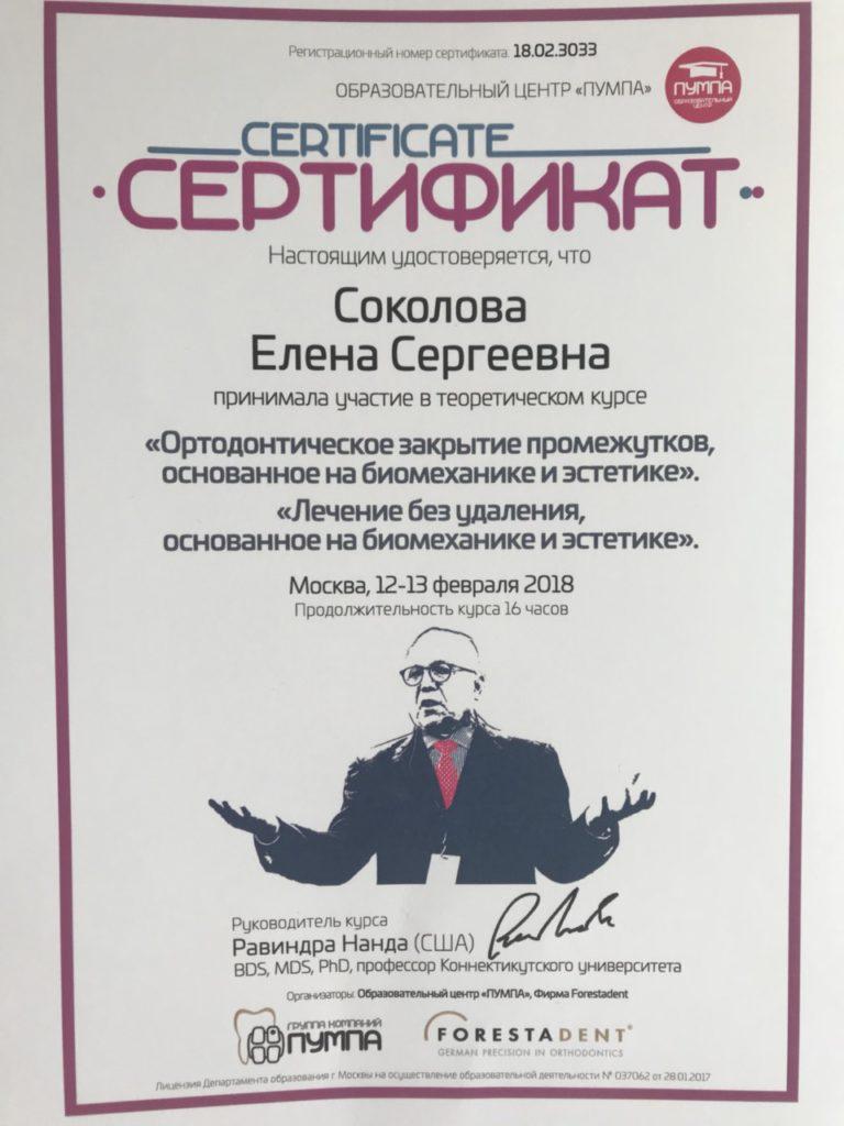 Сертификат Мещеряковой Е. С. об участии в теоретическом курсе