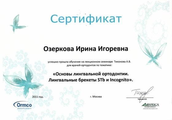 Сертификат Озерковой И. об участии в семинаре