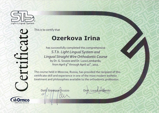 Certificate Ozerkova I has successfully completed comprehensive STb Light Lingual System and Lingual Straight Wire Orthodontic Course