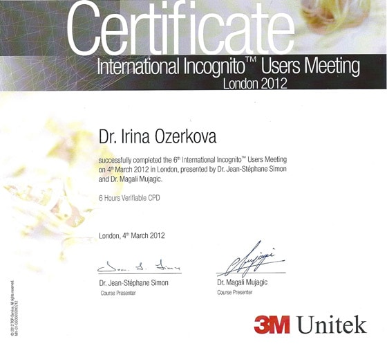 Сертификат участника International Incognito User Meeting 2012