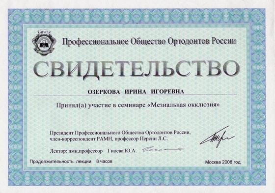 Сертификат Озерковой И. И. об участии в семинаре