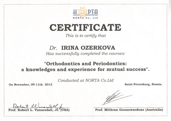 Certificate is to certify that Dr Ozerkova I has successfully completed the courses Orthodontics and Periodontics