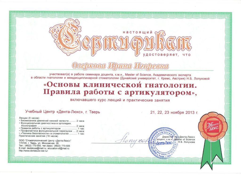 Сертификат о прохождении Озерковой И. программы