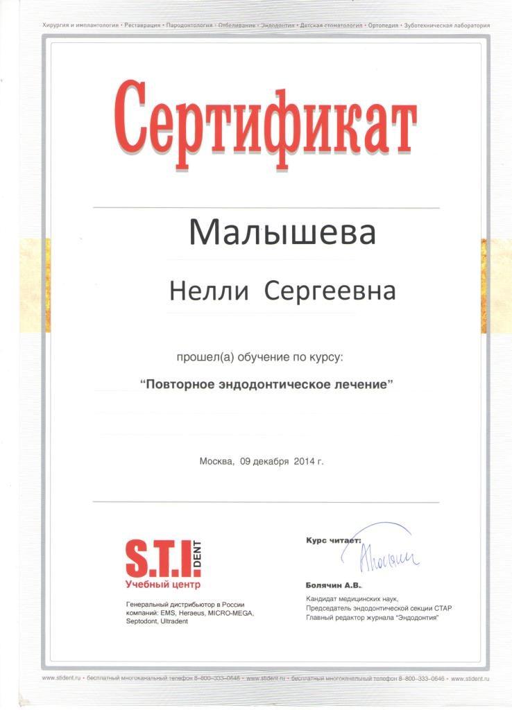 Сертификат Малышевой Н. С. о прохождении курса