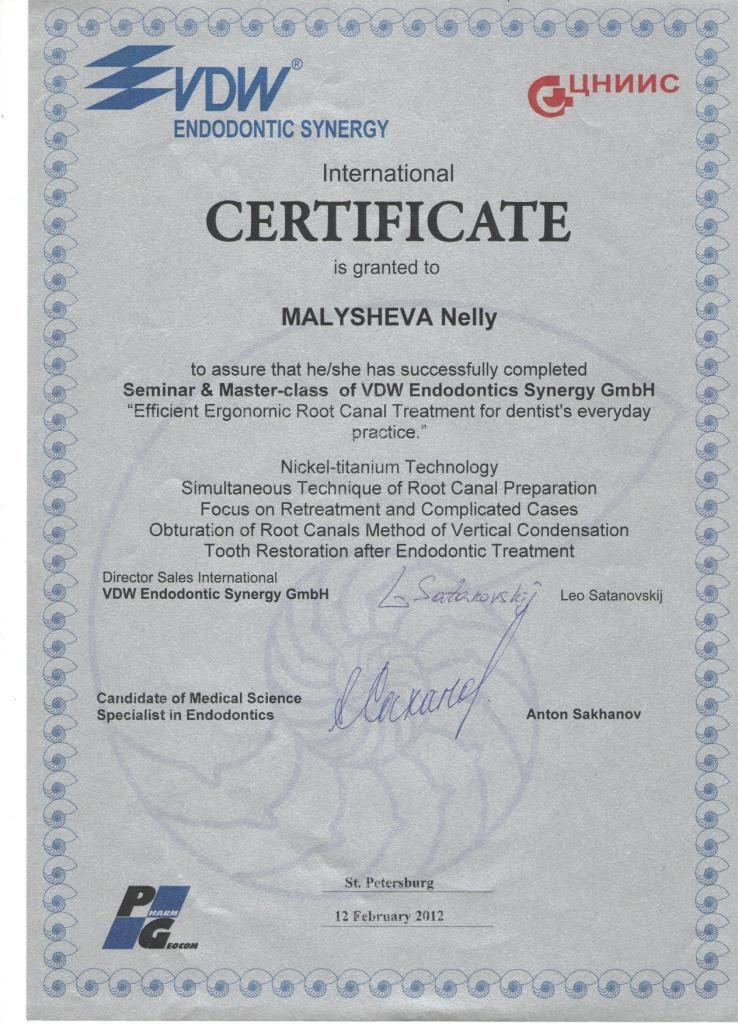 Сертификат о прохождении Малышевой Н. С. курса