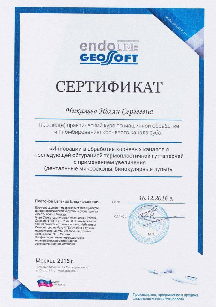 Сертификат Малышевой Н С о прохождении практического курса по машинной обработке и пломбированию корневого канала зуба
