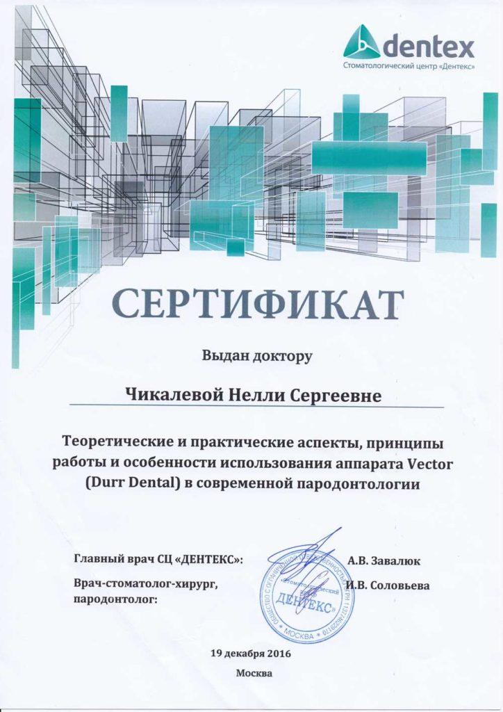 Сертификат Чикалевой Н С по теоретическим и практическим аспектам, принципам работы и особенностям использования аппарата Vector (Durr Dental)