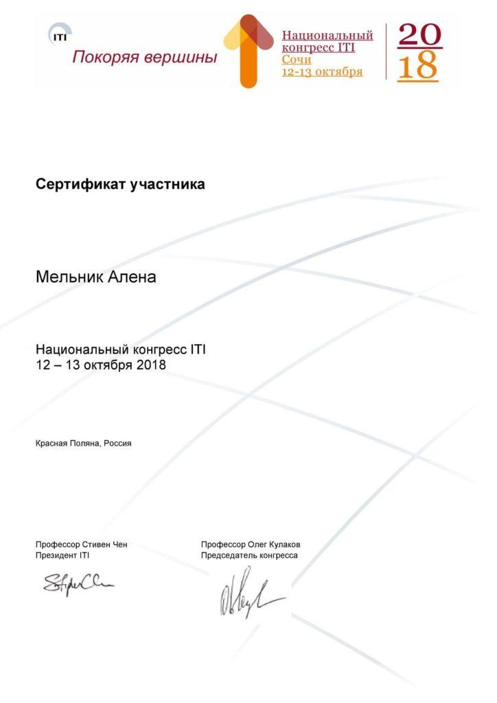 Сертификат об участии Мельник А. в Сочинской конференции