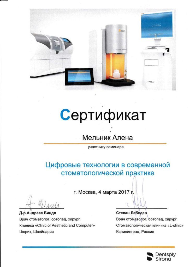 Сертификат об участии Мельник А. в обучающем семинаре