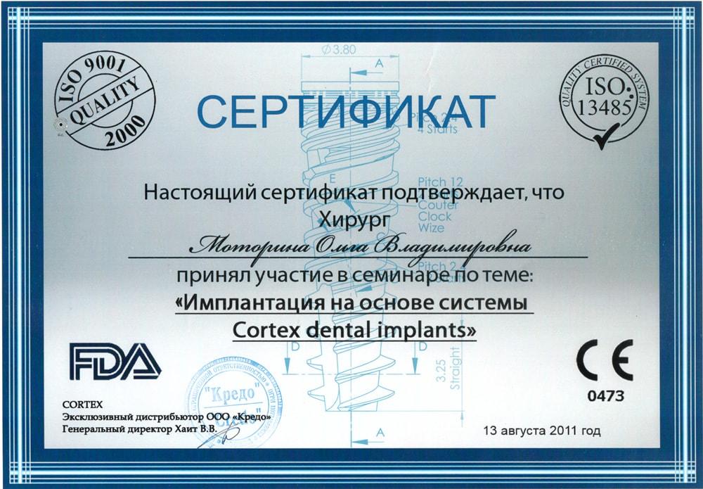 Сертификат о прохождении Моториной О. курса
