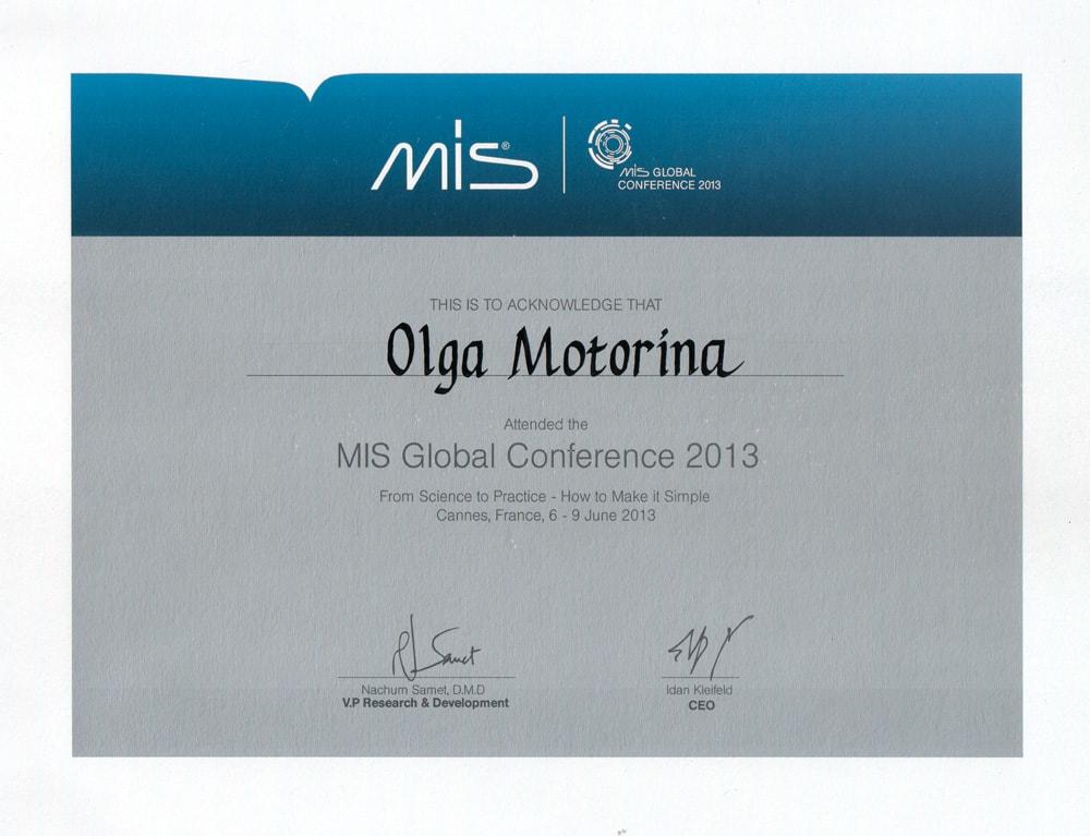 Сертификат Моториной О об участии в MIS Global conference 2013