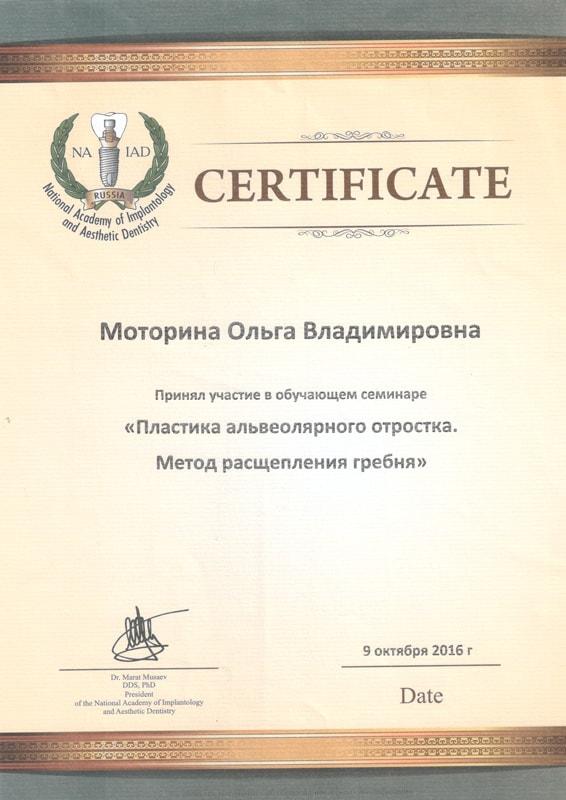 Сертификат Моториной О. об участии в обучающем семинаре