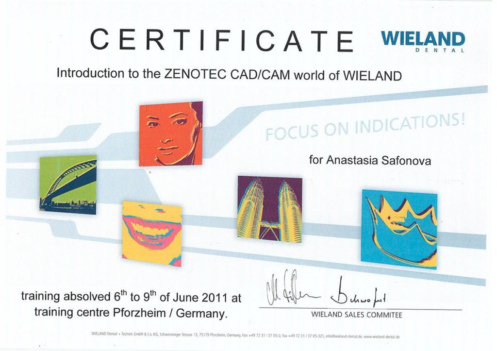 Сертификат Сафоновой А. В. об участии в Introduction to the Zenotec CAD/CAM world of Wieland