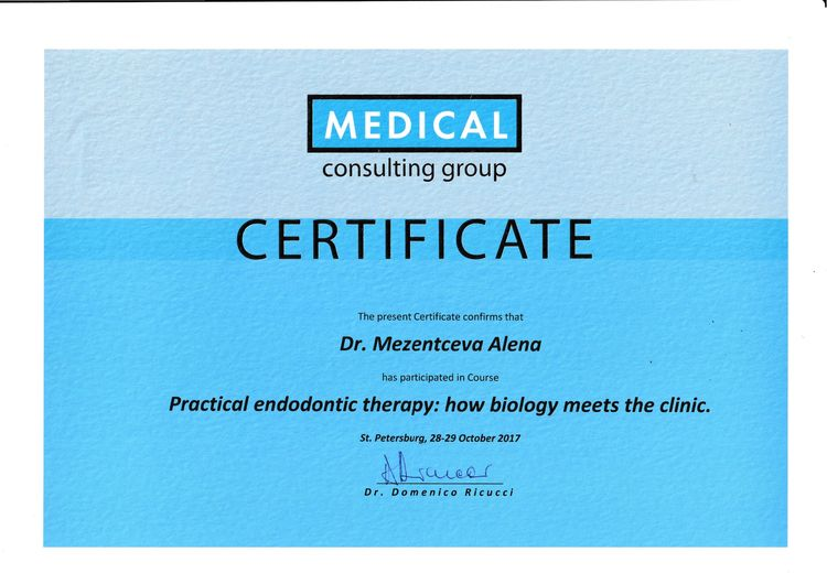 Sertificate of participation Mezentseva A. in the practical course