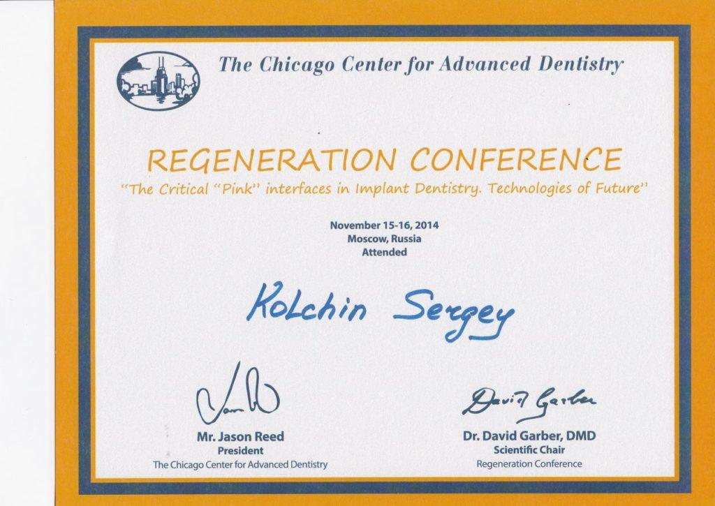 Сертификат Колчина С. об участии в международной конференции от Чикагского Центра