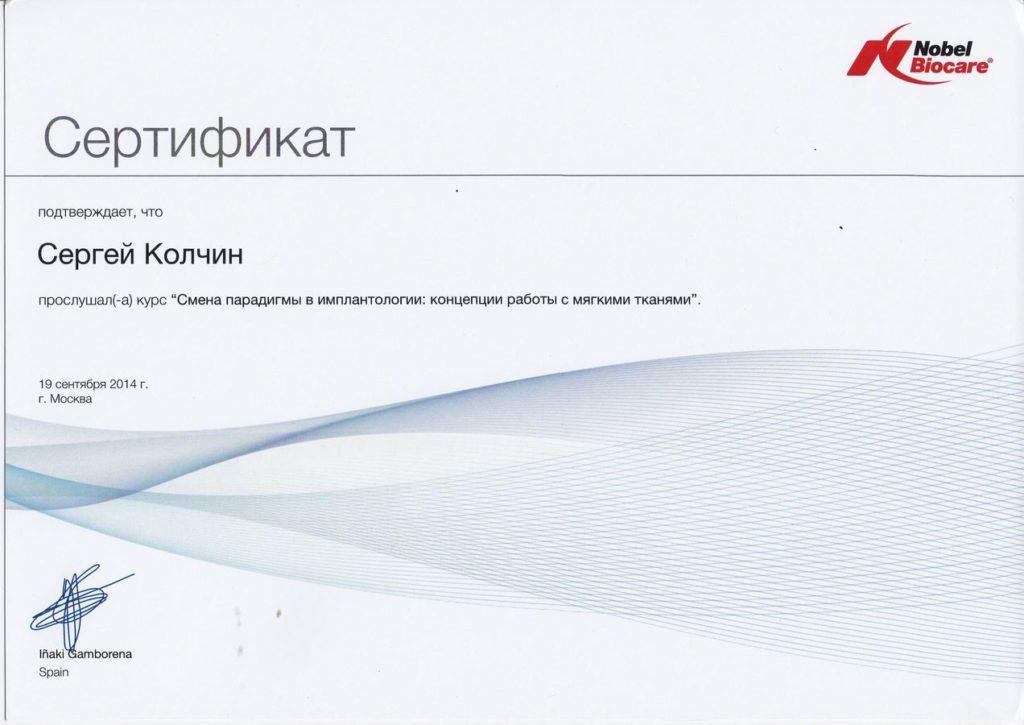Сертификат Колчина С. об участии в курсе