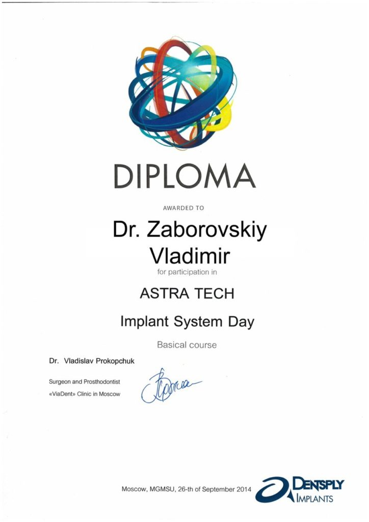 Certificat in Astra Tech implant system day