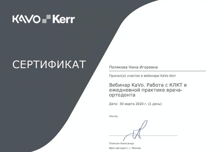 Сертификат об участии Поляковой Н. И. в семинаре
