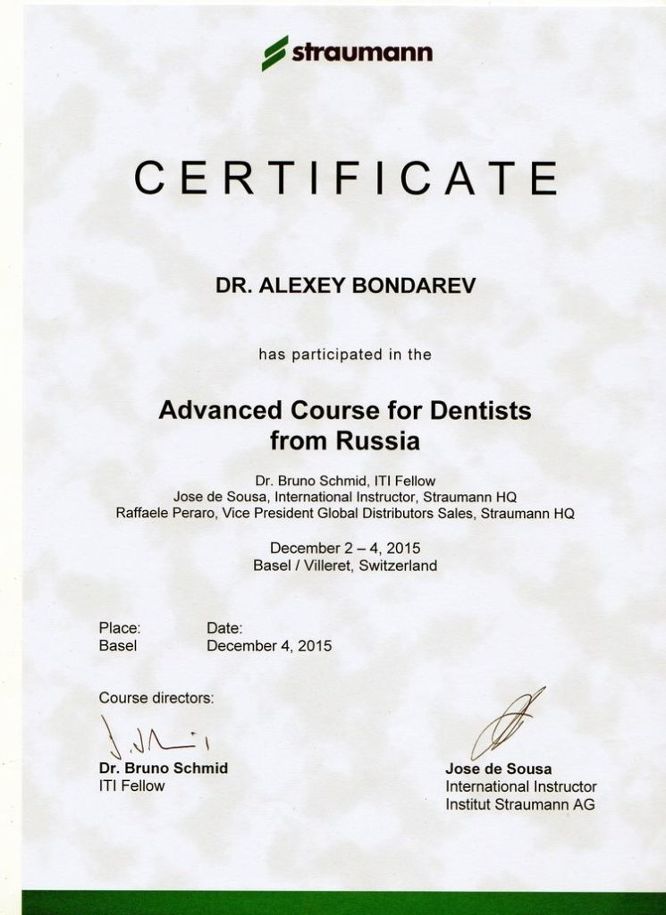 Certificate of attendance in Advanced course for Dentists from Russia