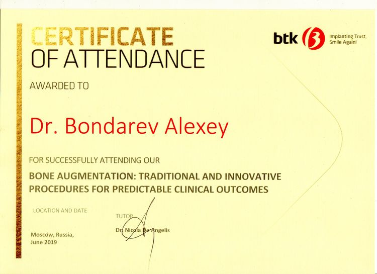 Certificate of attendance in Cone Augmentation course