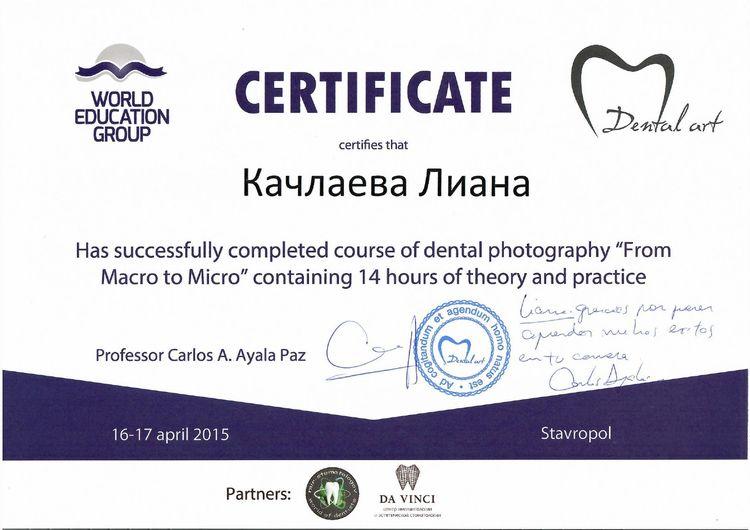 Сертификат Качлаевой Л. от World Education Group
