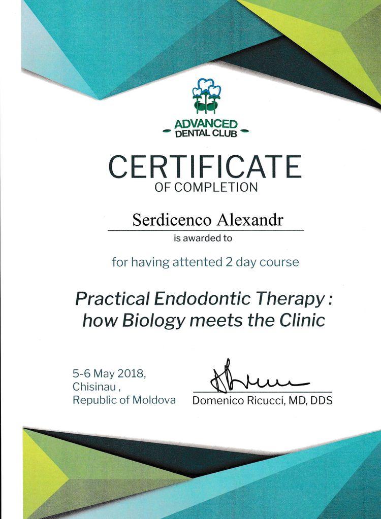 Сертификат Сердиченко А. В. об участии в курсе Practical Endodontic Therapy