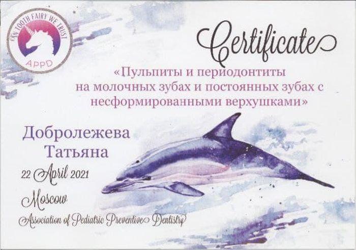 Сертификат Добролежневой Т. А. об участии в курсе
