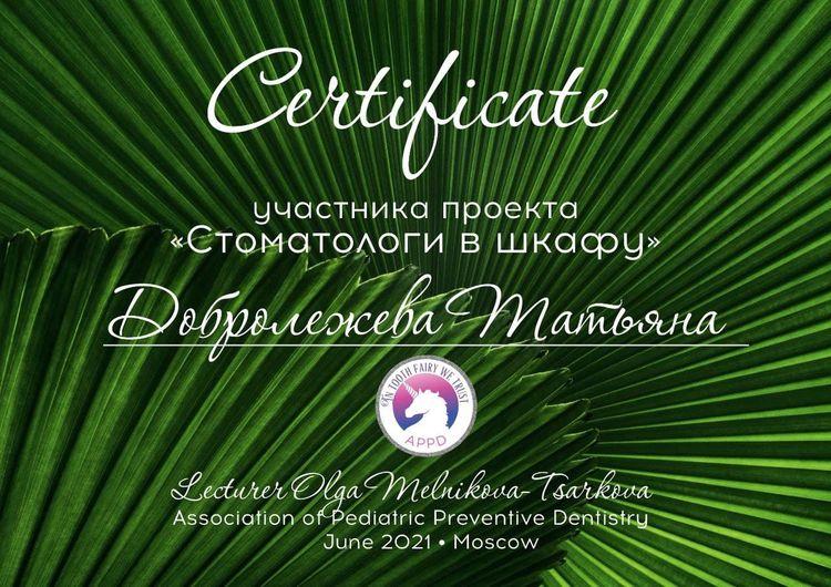 Сертификат Добролежневой Т. А. об участии в проекте